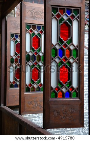 The column of windows of a historic Chinese house - stock photo