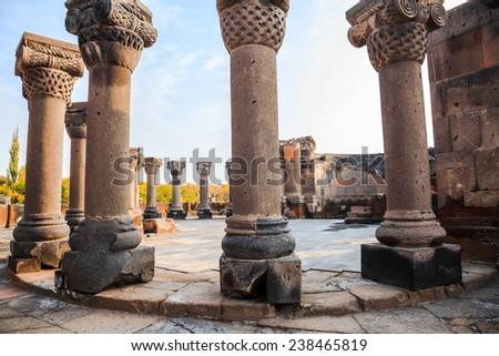 The Columns at Ruins Zvartnots Cathedral in Echmiadzin, Armenia - stock photo