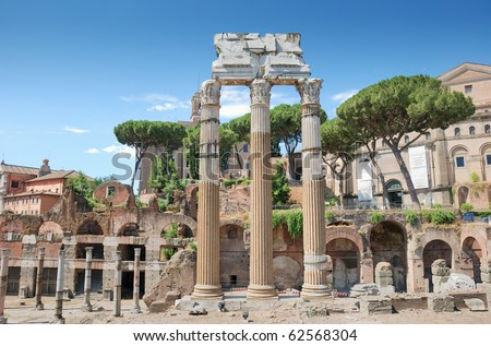 The 3 columns Corinthian order of the temple of Castor and Pollux (Tempio dei Dioscuri) is an ancient edifice in the Roman Forum, Rome, Italy. - stock photo