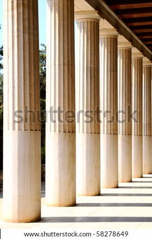 the columns in Greek museum - stock photo