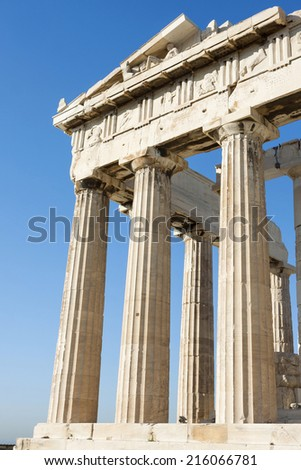 The columns of Parthenon, the temple in the Acropolis of Athens in Athens, Greece.  - stock photo