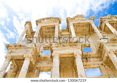 The columns of the Celsus library of ancient Ephesus in Kusadasi, Turkey - stock photo