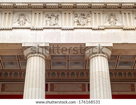"The columns of the historic temple ""Ruhmeshalle&q uot; in Munich in Bavaria"