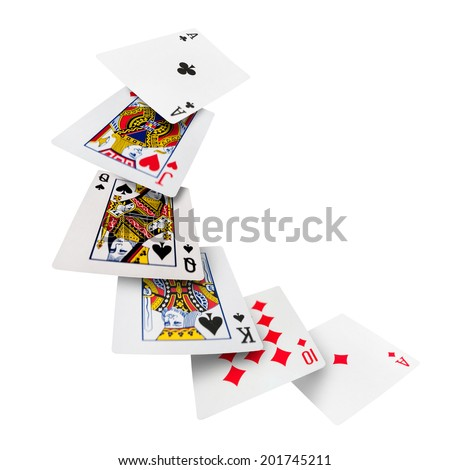 The combination of playing cards poker casino. Isolated on white background - stock photo