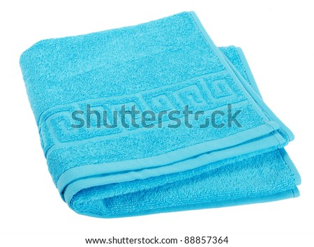 The combined  color towels isolated on white - stock photo