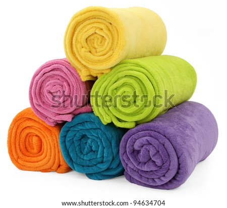 The combined color towels isolated on white