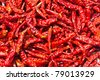 The combined, dried chillies are many red pigments - stock photo