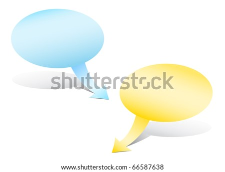 The comic bubble cartoon shapes with the arrow index - stock photo