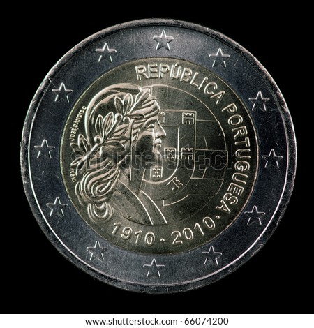 The commemorative euro coin from Portugal on the black background