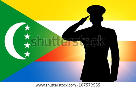 The Comoros flag and the silhouette of a soldier's military salute