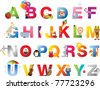 The complete childrens english alphabet spelt out with different fun cartoon animals and toys - stock vector
