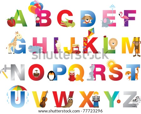 The complete childrens english alphabet spelt out with different fun cartoon animals and toys