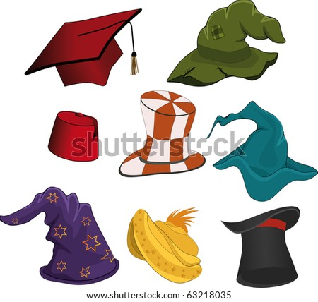 The complete set of hats.Raster version - stock photo