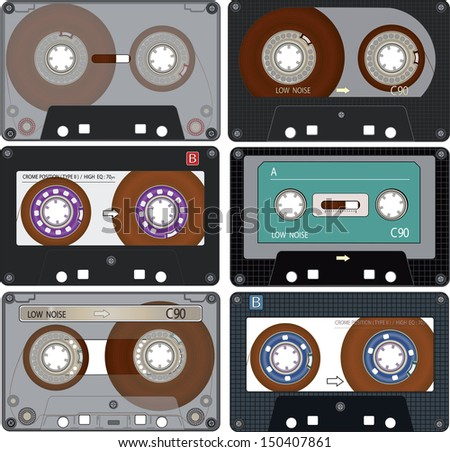 The complete set of the different Audio Cassettes Tapes