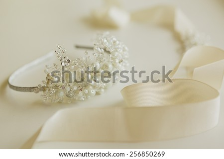 The composition of beautiful wedding accessories bride - stock photo