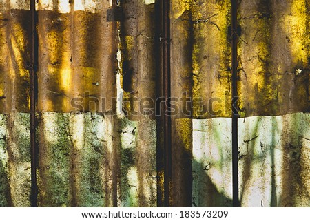 The composition of old polycarbonate panels.  Photo taken against the light. - stock photo