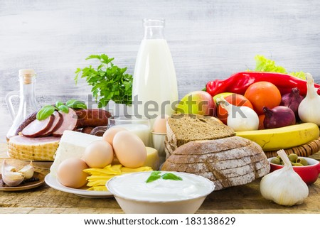 The composition of the food products on the table - stock photo