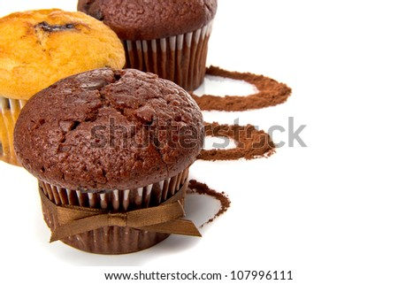 The composition of the muffins and cocoa - stock photo