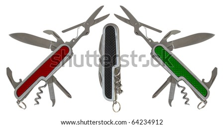 The composition of the three folding multipurpose knives - stock photo