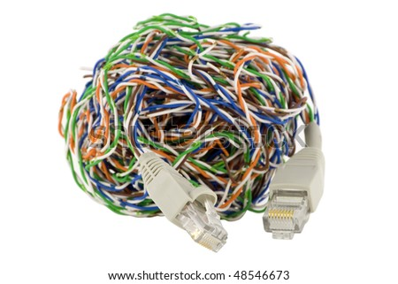 The computer cable confused in a sphere and connectors for the Internet. Iso?ated on white. With clipping patch. Selective focus.