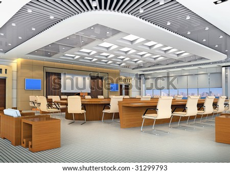 the computer generated 3d image of the modern conference hall - stock photo