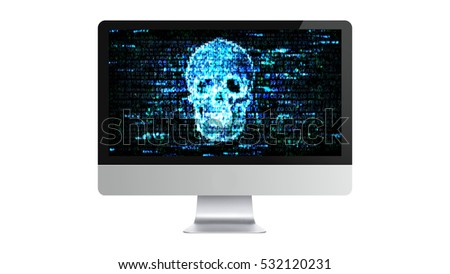The computer is broken. Hacking confidential information. Hackers on the Internet.