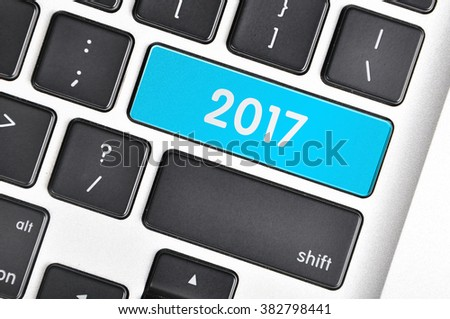 The computer keyboard button written word 2017