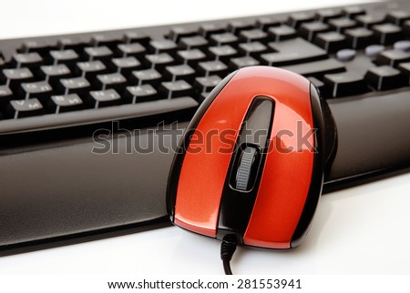 The computer mouse and the keyboard - stock photo