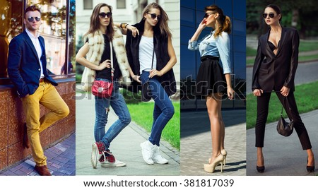 The concept  fashion beauty female and male. Art  Collage of young women and men in glasses wearing in trendy clothes, with make up and accessories. Close up. street shot - stock photo