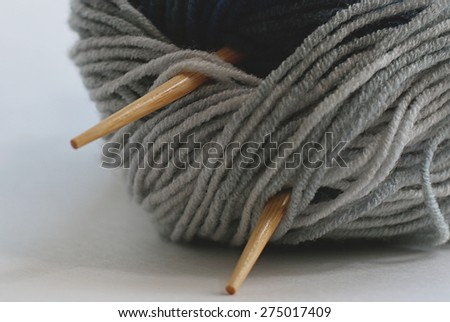 the concept of a hobby of knitting wool - stock photo
