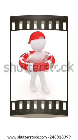 The concept of a reliable insurance on a white background. The film strip - stock photo