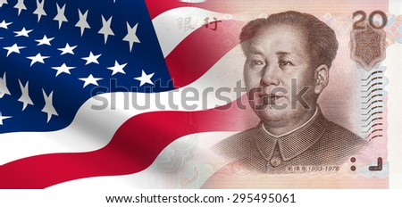 The concept of and economic political relationships the United States with China. - stock photo