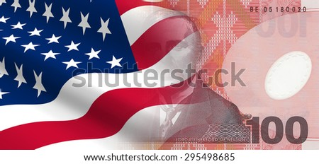 The concept of and economic political relationships the United States with New Zealand. - stock photo