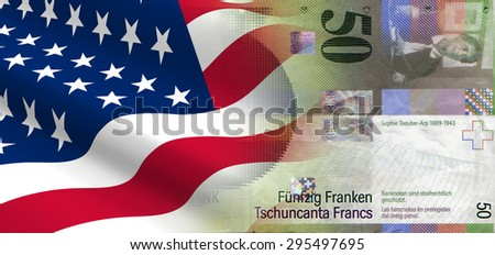 The concept of and economic political relationships the United States with Switzerland. - stock photo