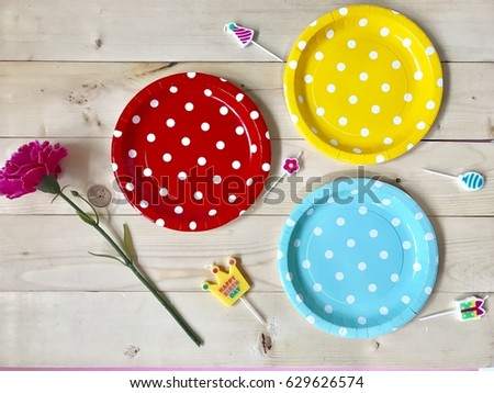 The concept of Birthday party accessories. Closeup a set of colorful polka dots paper plates & Concept Birthday Party Accessories Closeup Set Stock Photo \u0026 Image ...