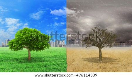 The concept of climate changed. Tree alive and dead tree standing at the different sides of climates on city background. Save the environment. 3D Illustration
