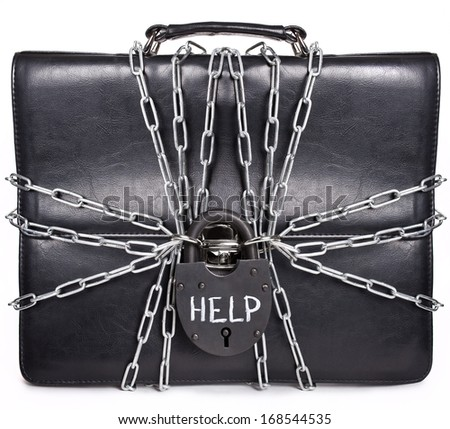 The concept of closing a business. Portfolio business person with the documents under lock and key with the inscription help. - stock photo