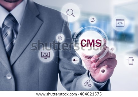 The concept of cms content management system website administration. - stock photo