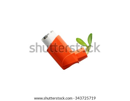 the concept of control asthma. asthma inhaler and green sprout symbolize the ability to easily breathing. Isolated on white background - stock photo