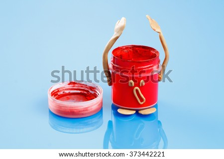 The concept of creating ideas. Joyful and sad emotions employment creation. Painting. - stock photo