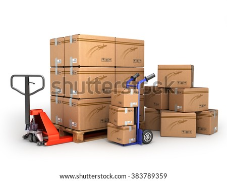 the concept of delivery, hand truck and hand truck loaded pallet boxes are isolated on a white - stock photo