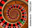 The concept of gambling at roulette, spanning a player in a spiral vortex - stock photo