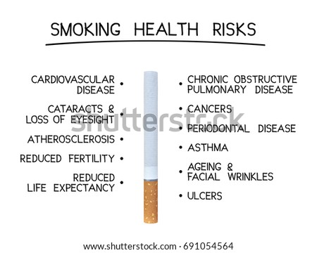 concept health risk smoking cigarette list stock photo