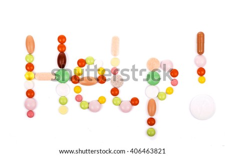 The concept of Medicine. Word help the written pills. Pharmacy. Word health made with capsule pills - stock photo