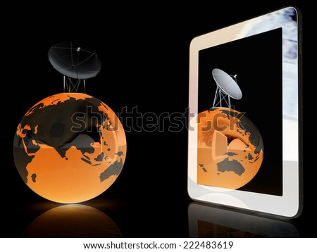 The concept of mobile high-speed Internet and planet earth on a black background - stock photo