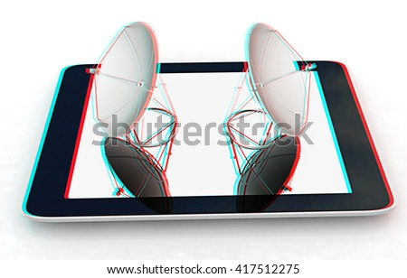 The concept of mobile high-speed Internet on a white background. 3D illustration. Anaglyph. View with red/cyan glasses to see in 3D. - stock photo