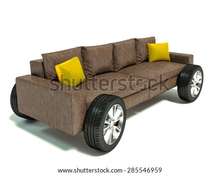 The concept of moving to a new home. Sofa on wheels - stock photo