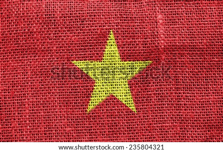 The concept of national flag on canvas background: Vietnam - stock photo