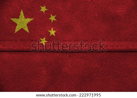 The concept of national flag on leather background: China - stock photo