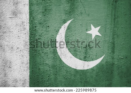 The concept of national flag on metal background: Pakistan - stock photo